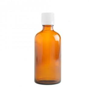 100ml Amber Glass Bottle White Cap
